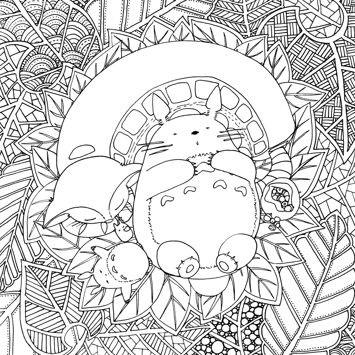Doodles and totoro part 2 le chocobo - Coloriage therapie ...